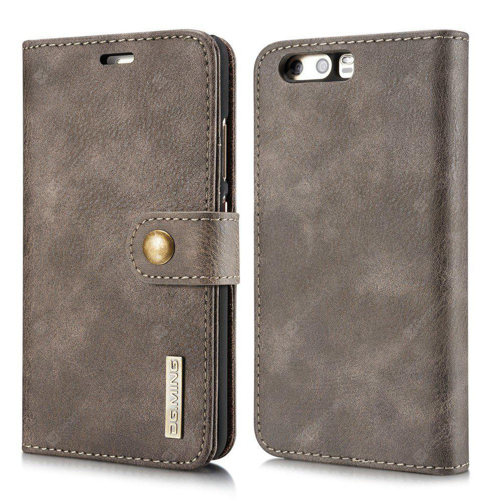 DG.MING Cow Leather Separable Back Case with Magnetic Button Flip Wallet Cover for Huawei P10 GRAY