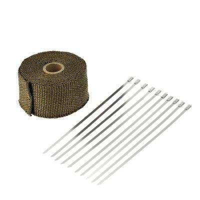 5m Heat Wrap Exhaust Manifold Downpipe Fibre Insulation Cloth with 10pcs 20cm Cable Ties for Car Motorcycle
