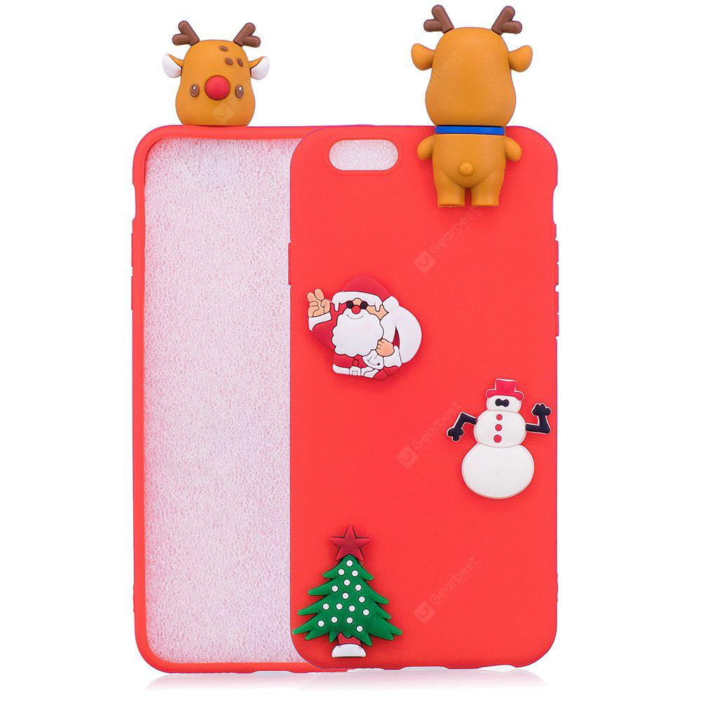 Árvore de Natal Santa Claus Reindeer 3D Cartoon Animals Soft Silicone TPU Case para iPhone 6 Plus / 6S Plus