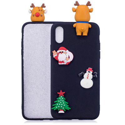 Árvore de Natal Santa Claus Reindeer 3D Cartoon Animals Soft Silicone TPU Case para iPhone X