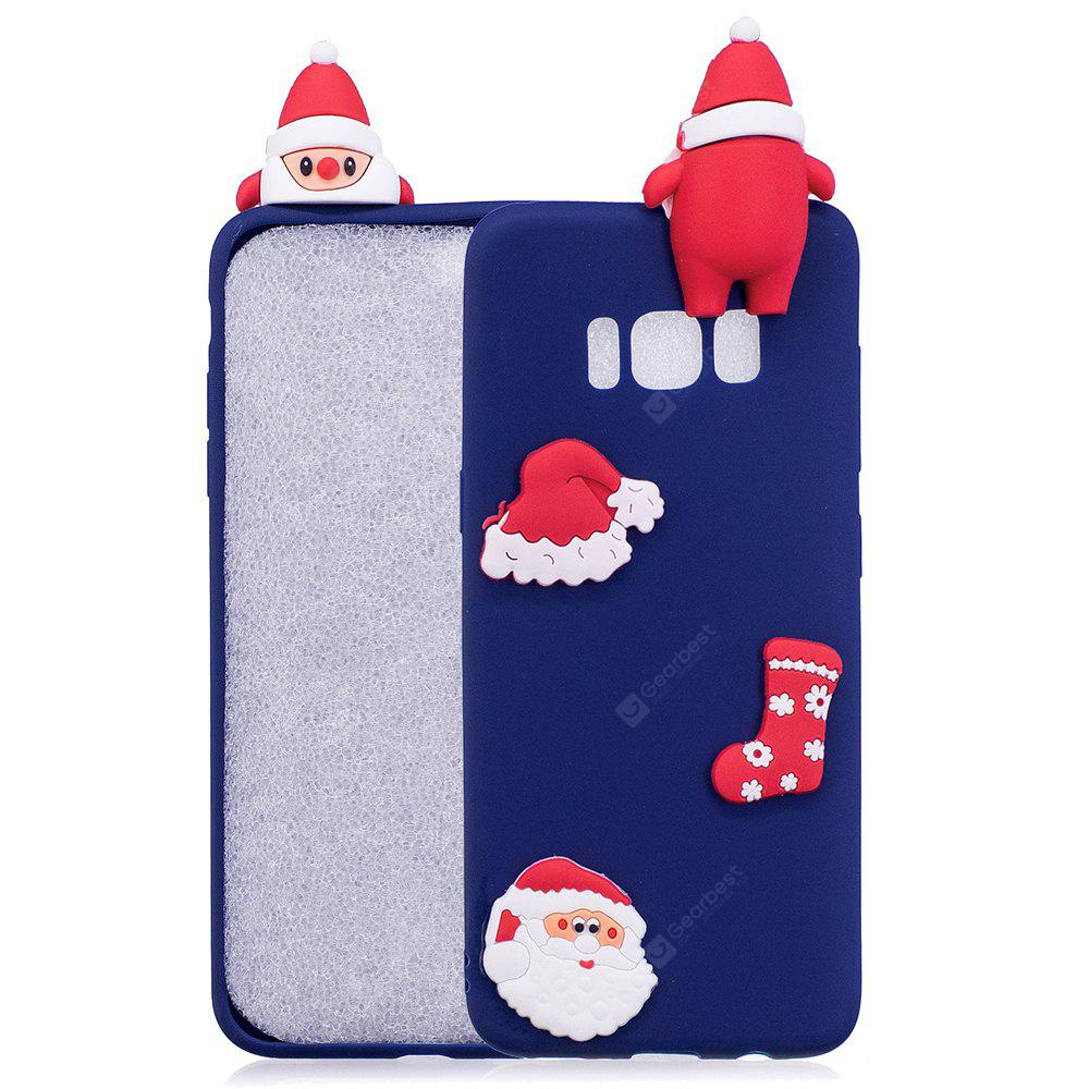 BLUE Christmas Hat Tree Santa Claus Reindeer 3D Cartoon Animals Soft Silicone TPU Case for Samsung Galaxy S8