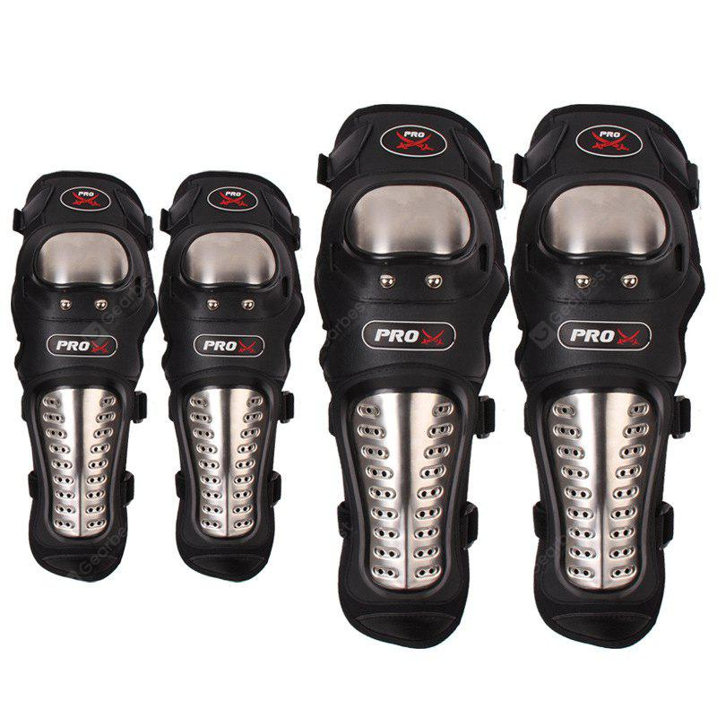 4pcs Stainless Steel Motorcycle Racing Protective Gear Knee Elbow Shin Pads Cap Guards
