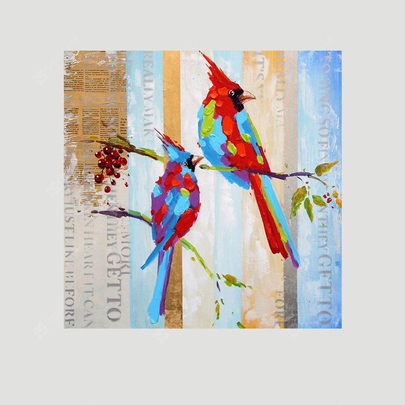 XiangYunChengFeng Colorful Bird Lovers Canvas Unframed Oil Painting