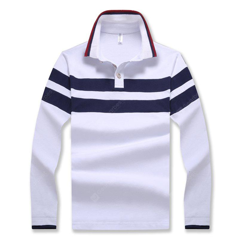 Men's Fashion Stripes Hit Color Slim Long-Sleeved Polo Shirt