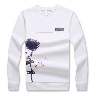 Men's Fashion Printing Long-Sleeved Slim Sweatshirt