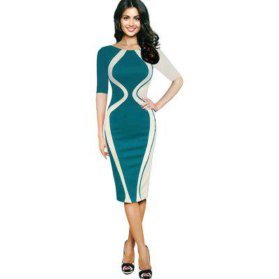 Buy GREEN L Women's Wear Five-Point Sleeve Stitching Stretch Fabric Fashion Dress for $26.81 in GearBest store