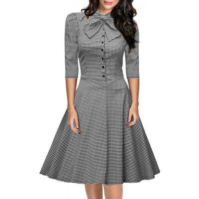 Buy BLACK L Women's Seven-Cent Sleeve Plaid Big Bow Fashion Big Swing Dress for $28.40 in GearBest store