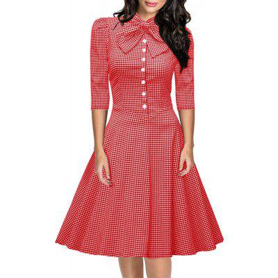 Buy RED XL Women's Seven-Cent Sleeve Plaid Big Bow Fashion Big Swing Dress for $28.40 in GearBest store