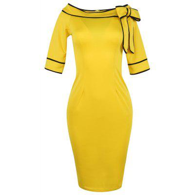 Womens Five-Cent Sleeve Solid Color Stitching Big Bow Fashion DressWomens Dresses<br>Womens Five-Cent Sleeve Solid Color Stitching Big Bow Fashion Dress<br><br>Dresses Length: Knee-Length<br>Elasticity: Micro-elastic<br>Fabric Type: Broadcloth<br>Material: Polyester<br>Neckline: Slash Neck<br>Package Contents: 1xDress<br>Pattern Type: Solid<br>Season: Fall<br>Silhouette: Straight<br>Sleeve Length: Half Sleeves<br>Style: Casual<br>Weight: 0.2500kg<br>With Belt: No