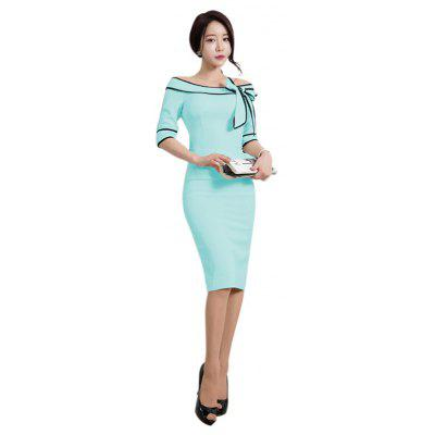 Buy LIGHT BLUE M Women's Five-Cent Sleeve Solid Color Stitching Big Bow Fashion Dress for $26.76 in GearBest store
