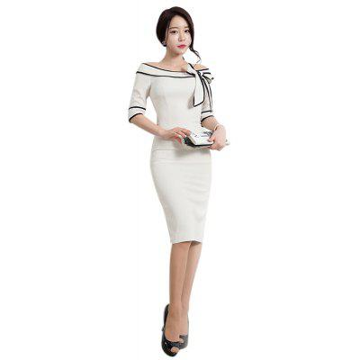 Buy WHITE M Women's Five-Cent Sleeve Solid Color Stitching Big Bow Fashion Dress for $26.76 in GearBest store