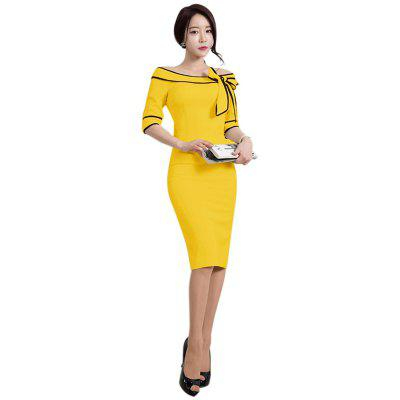 Buy YELLOW 2XL Women's Five-Cent Sleeve Solid Color Stitching Big Bow Fashion Dress for $26.76 in GearBest store
