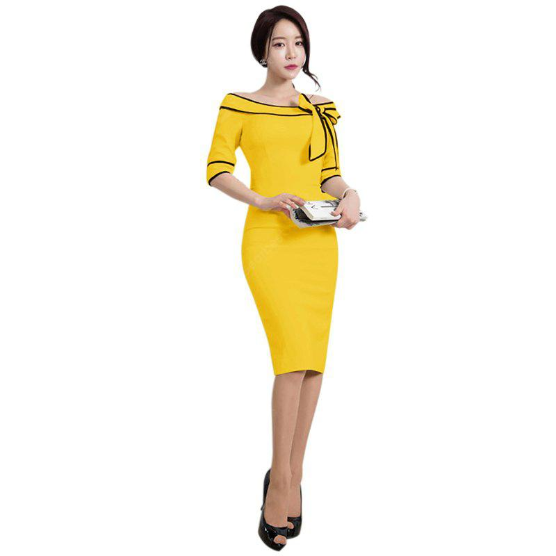 YELLOW S Women's Five-Cent Sleeve Solid Color Stitching Big Bow Fashion Dress