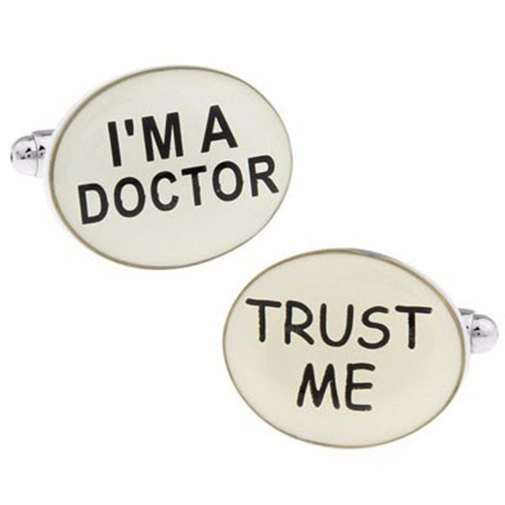 Men's 2pcs Letter Pattern i'M Doctor Cuff Buttons Accessory