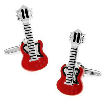 Men's Musician Red Guitar Color Block Fashionable Cuff Buttons Accessory
