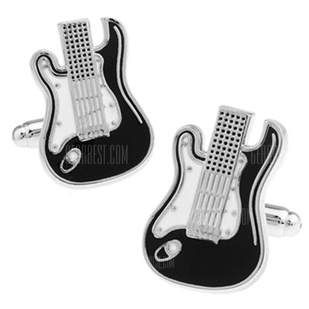 Men's Musician Black and White Broken Guitar Fashionable Cuff Buttons Accessory