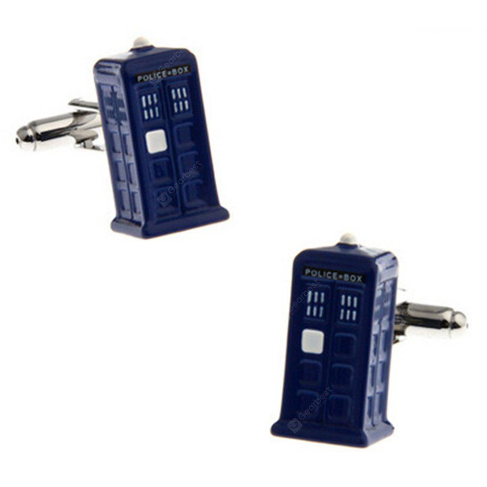 Men's Blue Police Box Brass Cuff Links Charm Chic Cuff Buttons