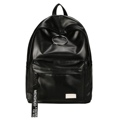 Buy BLACK MENGHUO Fashion Simple Iron Hoop Decoration Backpack for Men for $28.12 in GearBest store