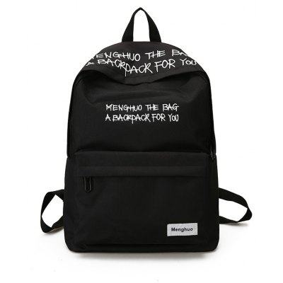 Buy BLACK MENGHUO Fashion Letter Embroidery Backpack for Men for $27.27 in GearBest store