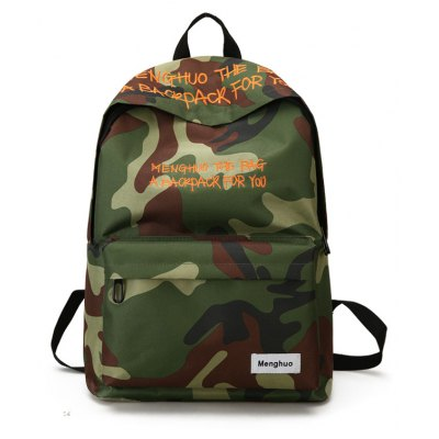 Buy CAMOUFLAGE MENGHUO Fashion Letter Embroidery Backpack for Men for $27.27 in GearBest store