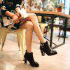 Women's Chunky Heel Fashion Round Toe Boots - BLACK