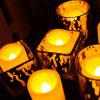 24 PCS Realistic Bright Flickering Flameless Votive Candles Battery Operated Melted Edge - IVORY YELLOW