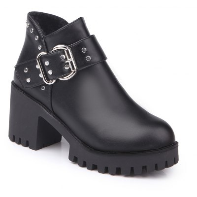 YYO11 Women Fashion PU Casual Ankle Boots Waterproof Sexy High Heel Martin Boot with Zipper