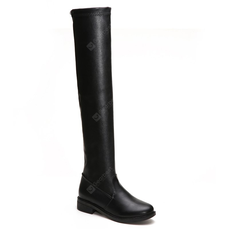YYO13 Women Fashion Sexy Over Knee PU Boots Low Heel Waterpoof Simple Style