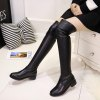YYO13 Women Fashion Sexy Over Knee PU Boots Low Heel Waterpoof Simple Style - BLACK