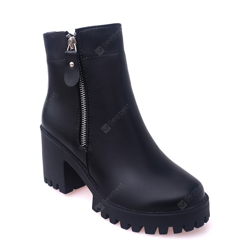 YYO14 Women Fashion Ankle PU Martin Boots Waterproof Block Thick High Heel with Zipper Shoes