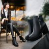 YYO14 Women Fashion Ankle PU Martin Boots Waterproof Block Thick High Heel with Zipper Shoes - BLACK