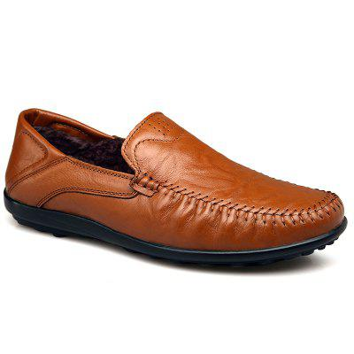 Winter Warm Men Driving Shoes Premium Genuine Leather Fashion Casual Slip On Loafers Shoes Villus