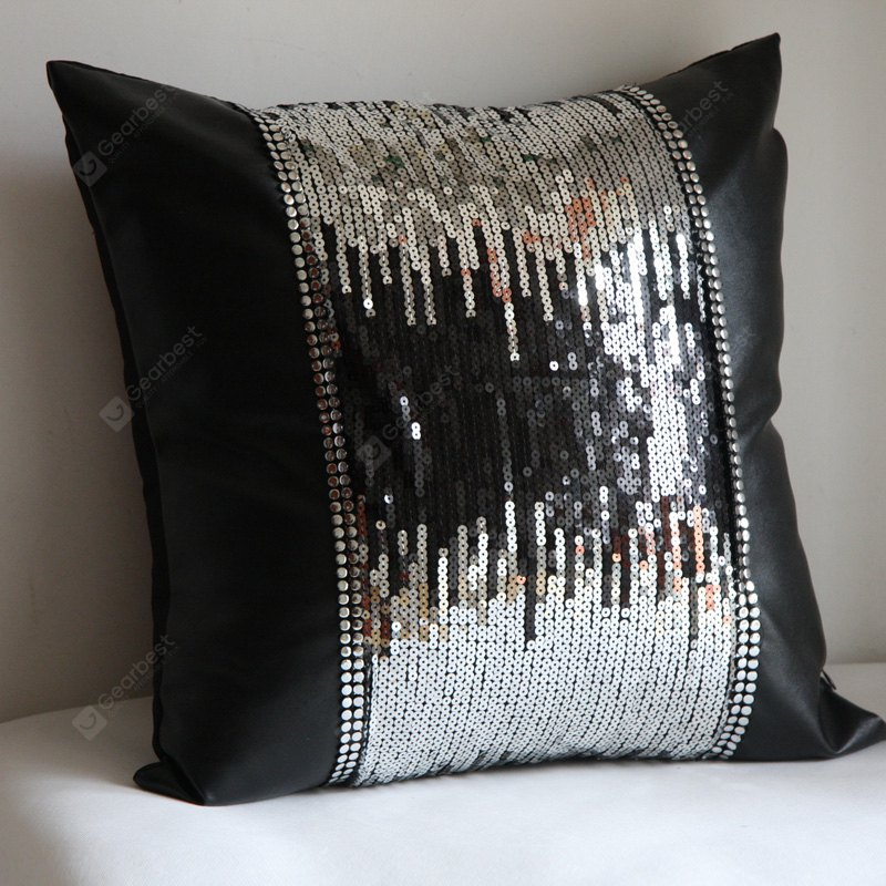 Lmdec 17HYZT01 Black Silver Double Sequin Stitching Leather Pillowcase