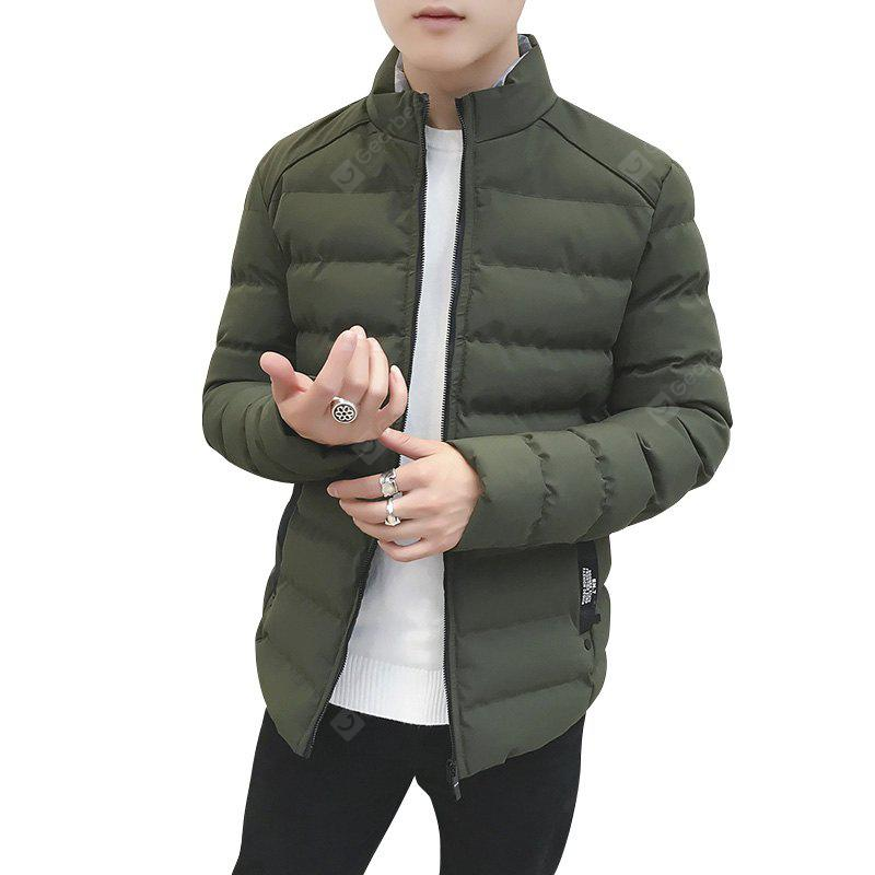 New Winter Jacket  Stand Collar Slim Fit Cotton Wadded  Warm Coats Men'S Jacket