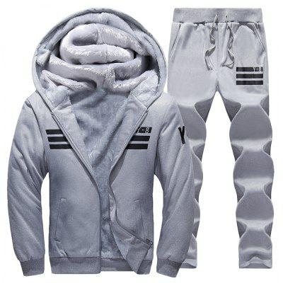 Men's Casual Jacket Thickening Hooded Suit