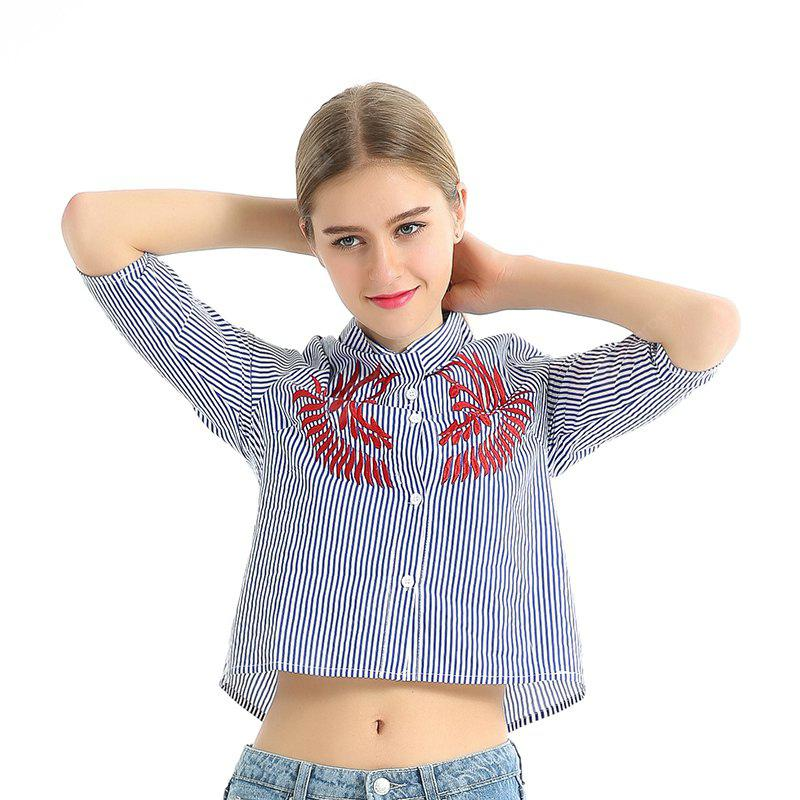 Embroidered Casual Stripe Shirt