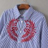 Embroidered Casual Stripe Shirt - STRIPE