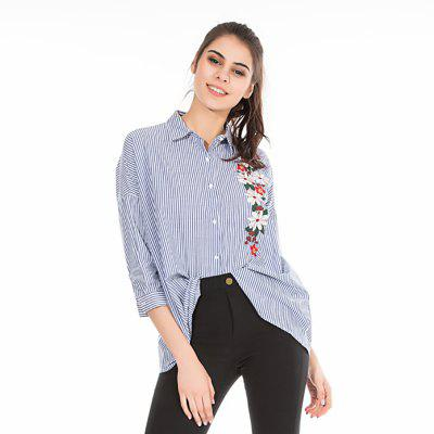 Striped Embroidered Long Sleeve ShirtBlouses<br>Striped Embroidered Long Sleeve Shirt<br><br>Collar: V-Neck<br>Elasticity: Micro-elastic<br>Embellishment: Embroidery<br>Fabric Type: Broadcloth<br>Material: Polyester<br>Package Contents: 1xShirt<br>Pattern Type: Striped<br>Shirt Length: Regular<br>Sleeve Length: Long Sleeves<br>Style: Casual<br>Weight: 0.1700kg