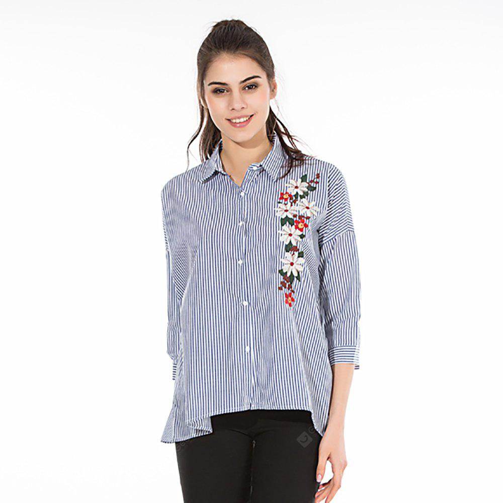 Striped Embroidered Long Sleeve Shirt