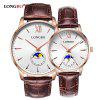 Longbo 5008 Leisure Round Dial Leather Band Couple Watch - ROSA DOURADO