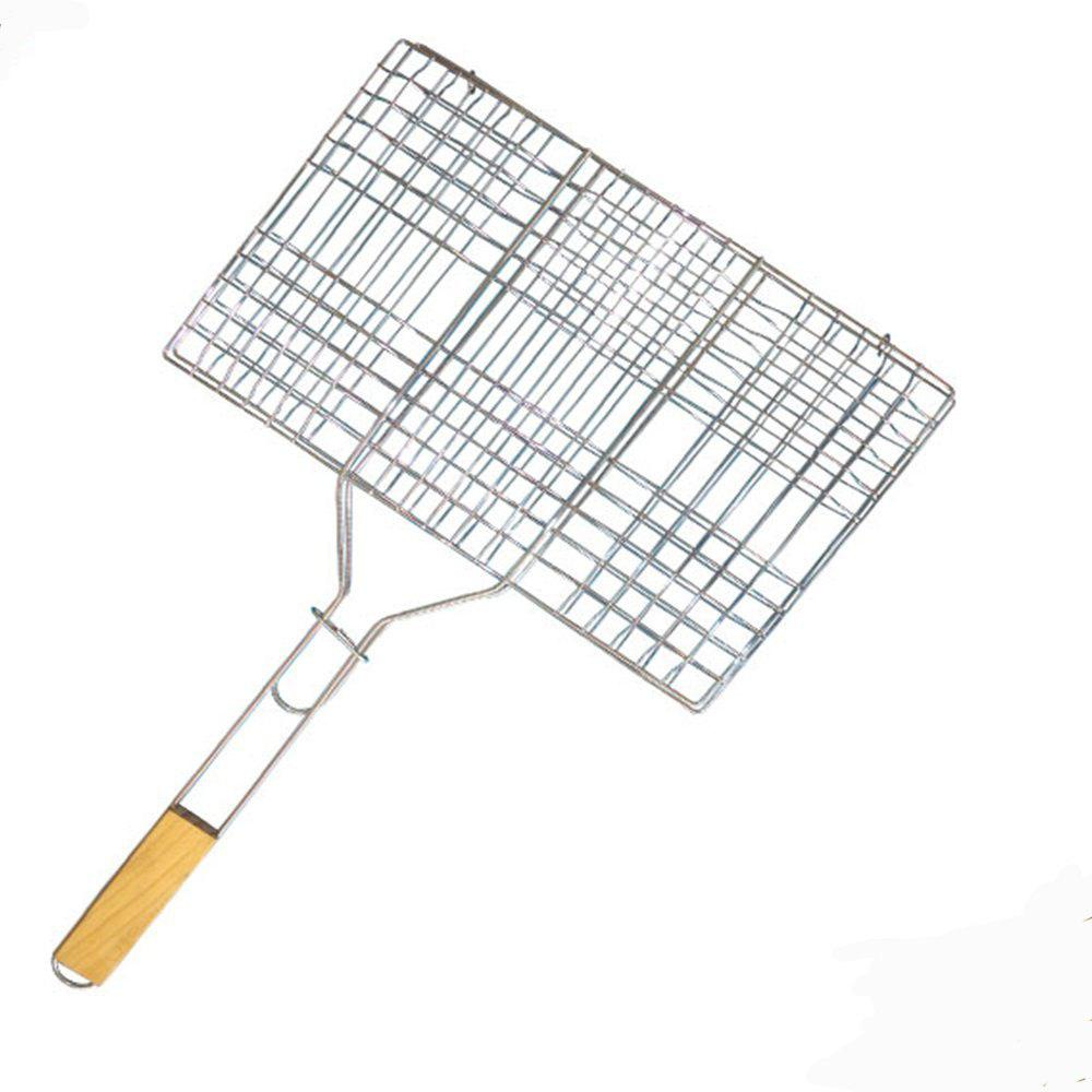 BBQ Barbecue Grilling Basket for Fish Vegetables  Steak Shrimp Chops and Many Other  Food Great and Useful BBQ Tool Wooden  Handle