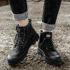 High Top Men Winter Outdoor Casual Shoes Plush Lace Up Flats Men Botas de neve Oxford Warm Sneakers - PRETO