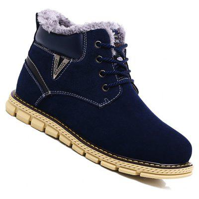 Big Size Men Winter Outdoor Casual Shoes Plush Lace Up Flats Men Snow Boots Oxford Warm Sneakers