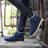 Big Size Men Winter Outdoor Casual Shoes Plush Lace Up Flats Men Snow Boots Oxford Warm Sneakers - BLUE