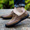 Leather Business Men Fashion Outdoor Casual Shoes Plush Lace Up Flats Men Oxford Sneakers - BROWN