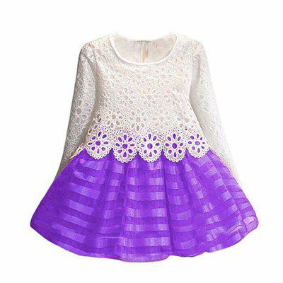 Kids Long Sleeve Lace Party Wedding Girl Dress