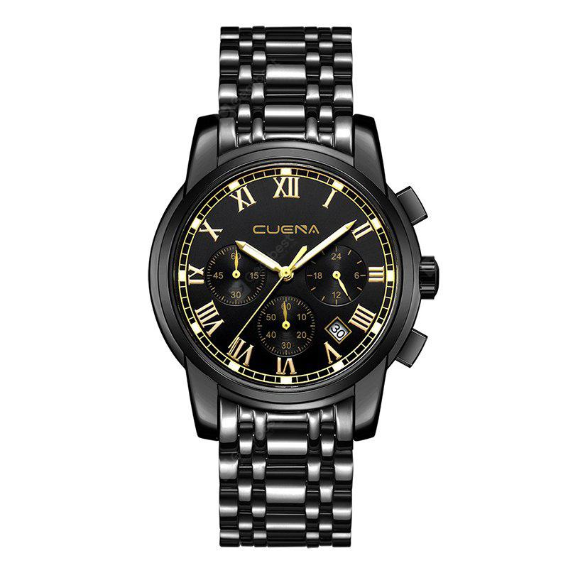 CUENA 6809G Men Fashion Sports Watch Alloy Case Stainless Steel Band Small Dial Watch