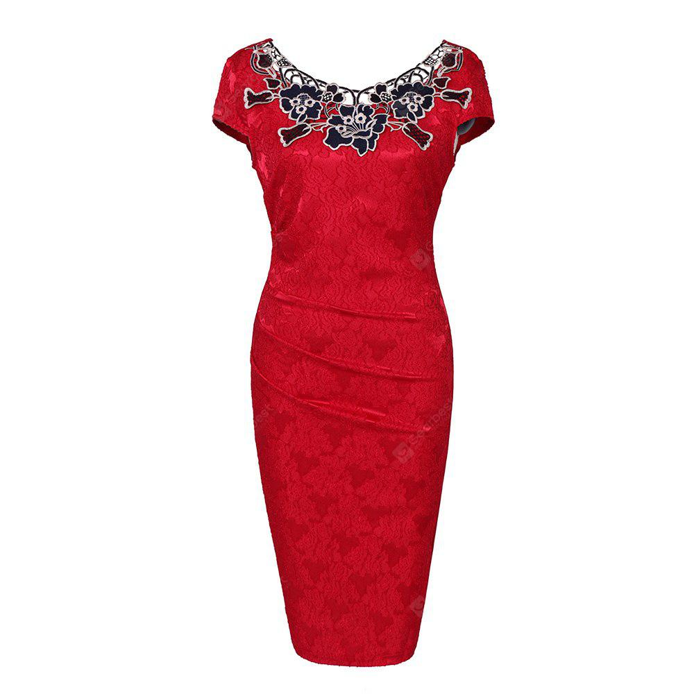 European Foreign Trade Station Hot Sale Short Sleeve Lace O Neck Pencil Party Dress