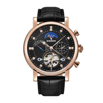 BINSSAW 1012 4796 Business Leather Band Automatic Mechanical Men Watch with Box