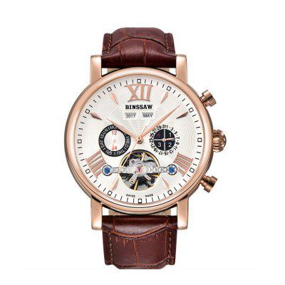 BINSSAW 1013 4799 Business Calendar Automatic Mechanical Men Leather Band Watch with Box